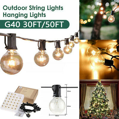 30FT/50FT GLOBE FESTOON STRING LIGHTS MAINS POWERED G40 Bulbs WARM WHITE OUTDOOR • 21.59£
