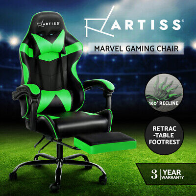 AU209.90 • Buy Artiss Gaming Office Chair Computer Chairs Racing Recliner Footrest Black Green