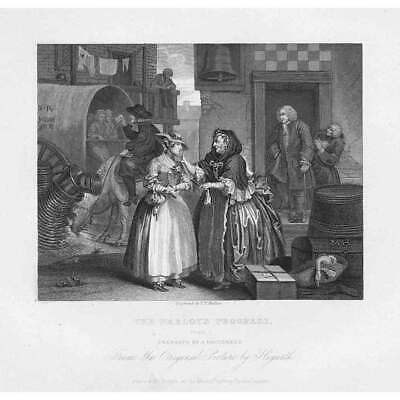 WILLIAM HOGARTH The Harlots Progress Plate I, Jew Protector - Antique Print 1833 • 9.95£