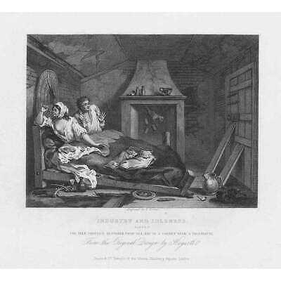 WILLIAM HOGARTH Industry & Idleness Plate VII - Antique Print 1833 • 9.95£