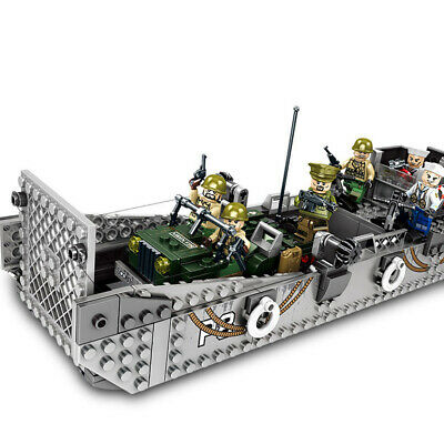 WW2 Military Landing Craft Boat + Army Jeep Truck + Soldiers Normandy Fit Lego! • 22.36£