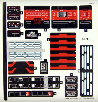 Lego Star Wars STICKER SHEET ONLY For Lego Set 75190 First Order Star Destroyer • 14.99£