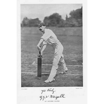 CRICKET J.G Weigall, Cambridge University CC - Antique Photographic Print C1899 • 9.95£
