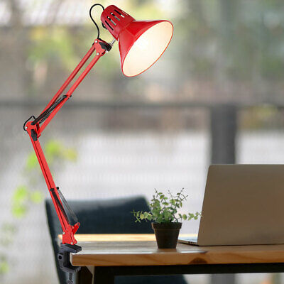 Writing Table Lamp Red Clamp Spotlight Reading Joint Lamp Adjustable • 28.20£