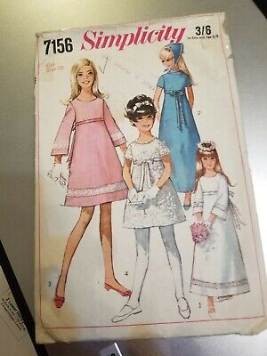 VINTAGE SEWING PATTERN Child 7156 Simplicity DRESS Bridesmaid Size Girl 10 • 2.45£