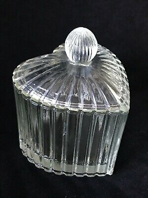 £10.17 • Buy Lisbeth Dahl Heart-Shaped Clear Ribbed Glass Container With Lid Valentine's Day