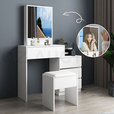 AU179.95 • Buy Dressing Table Stool Set Mirror Makeup Jewellery Cabinet With 4 Drawers White