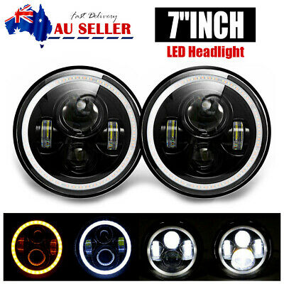 AU59.99 • Buy Pair 7  Inch LED Headlight High Low Beam DRL Fit For JEEP JK GQ PATROL Projector