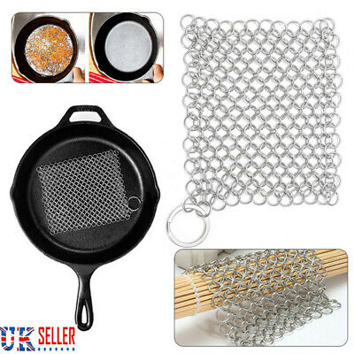 Stainless Steel Cast Iron Cleaner Chainmail Scrubber Home Kitchen Cookware Tools • 4.99£