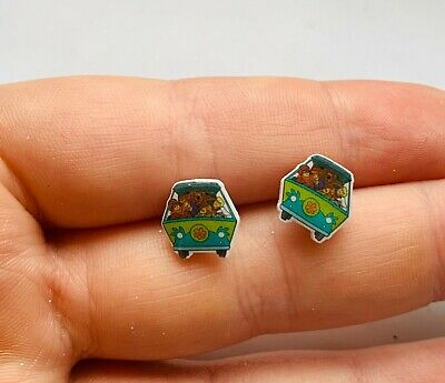 £3.99 • Buy Scooby Doo Dog Mystery Machine Cabochon Earrings Stud Silver Look Tiny NEW