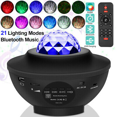 2 In 1 LED Star Night Light Starry Ocean Wave Music Projector Lamp Xmas Party UK • 22.99£