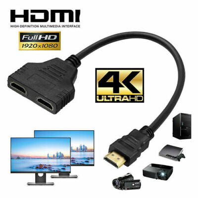 1080P HDMI Splitter Male To Female Cable Adapter Converter HDTV 1 Input 2 Output • 2.99£