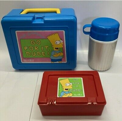 Vintage Original The Simpsons Lunch Box And Thermos Bluebird Toys 1991 Unused • 45£