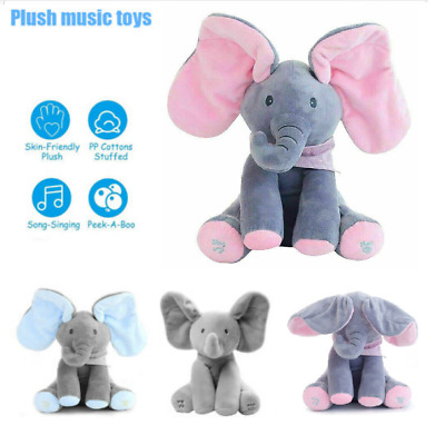 Peek A Boo Singing Elephant Toy Stuffed Music Doll Animated Kids Gift Baby Cute • 10.79£