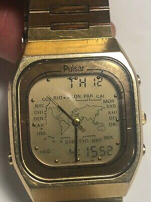 VINTAGE 1990's PULSAR ANA-DIGI Y951-5009 WORLD TIME MEN'S GOLD PLATED WRISTWATCH • 106.06£