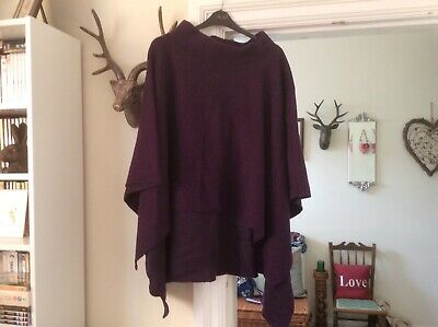 £29.95 • Buy New Made In Italy Stunning Boiled Wool Purple Poncho Cost £45 Size 10/24