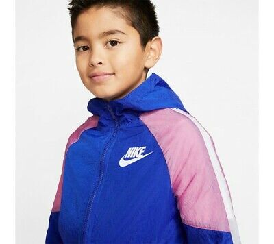 Nike Core Woven Zipped Track Top With Hood Boys - Blue/Pink - Size XL - New • 13.49£