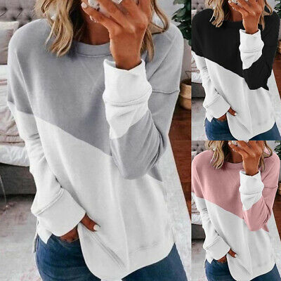 Womens Long Sleeve Casual Sweatshirt Loose Pullover T-shirt Ladies Jumper Tops • 11.59£