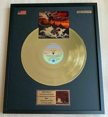 Dio Holy Diver 1983 Custom 24k Gold Vinyl Record In Wall Hanging Frame • 119£