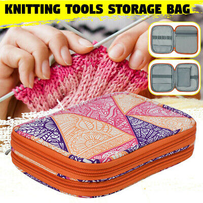 Double Layer Knitting Tool Organizer Storage Case Travel Crochet Hook Bag Sewing • 9.79£