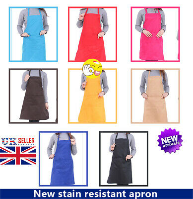 Ladies Women Tabard Apron Overall Kitchen Catering Cleaning Bar Plus Size Pocket • 3.99£