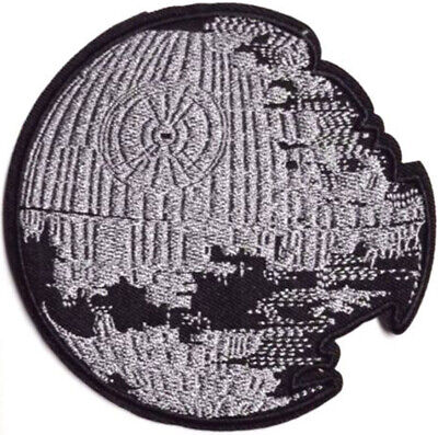 Star Wars Death Star Die Cut Patch 10cm Embroidered Badge Sew/Iron On Hook-Loop • 2.45£