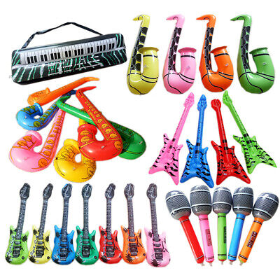 Pvc Inflatable Guitar Microphone Lute Musical Instrument Kids Toy Party Prop Kit • 4.12£
