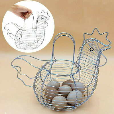 Chrome Wire Plated Egg Storage Chicken Egg Hen Basket For Kitchen Holder Rack • 11.57£
