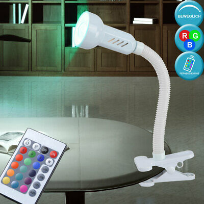 LED Clamp Spotlight Table RGB Dimmer Remote Control Flexo Reading White • 28.12£
