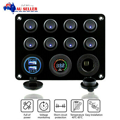 AU39.69 • Buy 8 Gang 12/24V Dual USB Switch Panel With Voltmeter For Car RV Boat Marine Truck