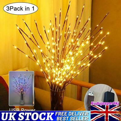 £6.66 • Buy LED Branch Twig Lights Light Up Branches Willow Christmas Vase Party Decor UK