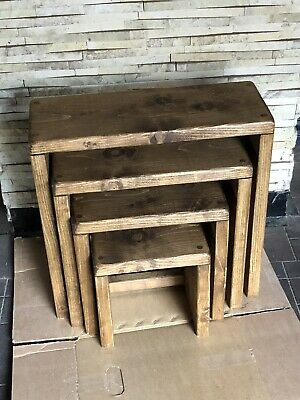 Rustic Pine 4 X Nest Of Tables • 85£