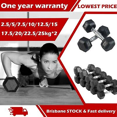 AU49.99 • Buy A Pair Rubber HEX Dumbbells Coat Iron Home Gym  Weight Training 2.5Kg-25Kg