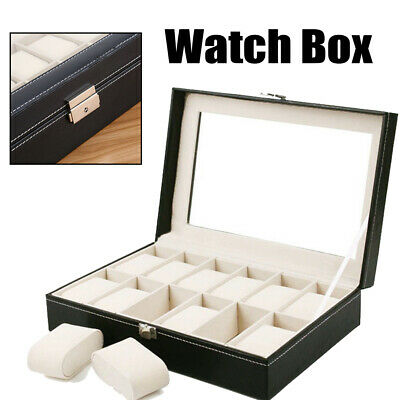 12 Compartment Black Leather Watch Display Case Jewellery Storage Box UK  CE • 10.97£