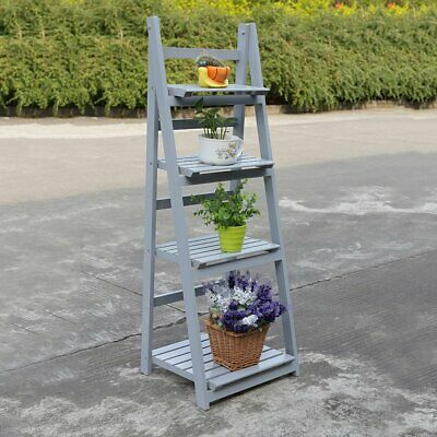 4 Tier Wooden Ladder Folding Book Shelf Stand Plant Gray Display Shelving DR • 28.99£