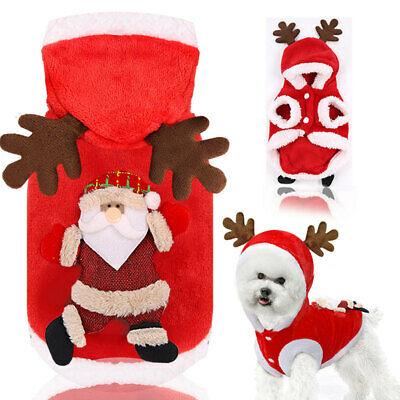 Pet Cat Santa Costume Dog Christmas Small Coat Outfit Clothes Hoodie Jumper Xmas • 4.59£