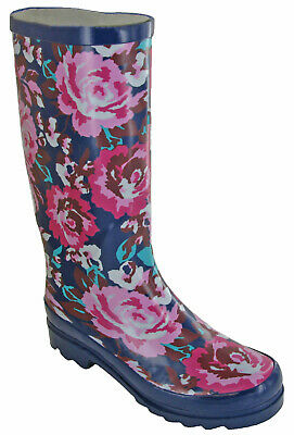 Womens Mudrocks Rubber Wellington Boots Floral 3/4 Flower Print Wellies UK 4-8 • 21.95£