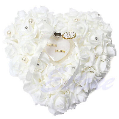 Wedding Ceremony Ivory Satin Crystal Ring Bearer Pillow Cushion Ring Pillow • 12.11£