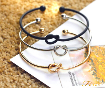 Silver Rose Gold Infinity Valentine Friendship Knot Bangle Bracelet Gift Bag/Box • 2.99£