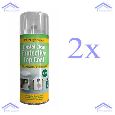 New 2x Crystal Clear Protective Top Coat UV PROOF SPRAY PAINT Gloss Effect 400ml • 9.99£