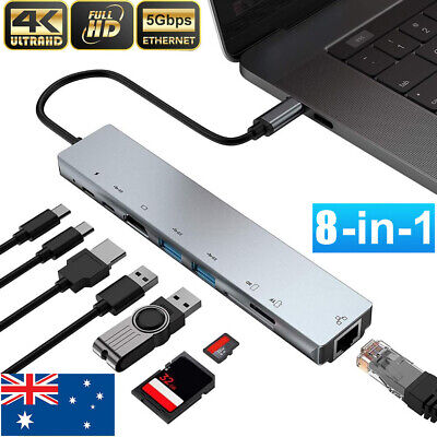AU36.09 • Buy 8in1 4K USB C To Type-C Hub HDMI USB 3.0 RJ45 Ethernet Adapter SD TF Card Reader