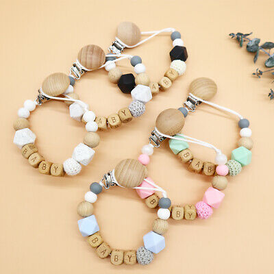 Dummy Clips Personalised Name Baby Pacifier Clips Natural Wooden Beads Holder • 5.99£