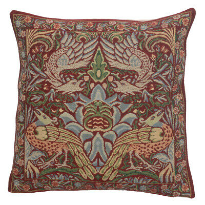 Peacock And Dragon Red Belgian Cushion Cover NEW • 31.37£