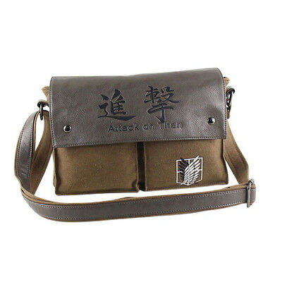 Anime Attack On Titan Shingeki No Kyojin Canvas Shoulder Messenger Bag School • 13.99£