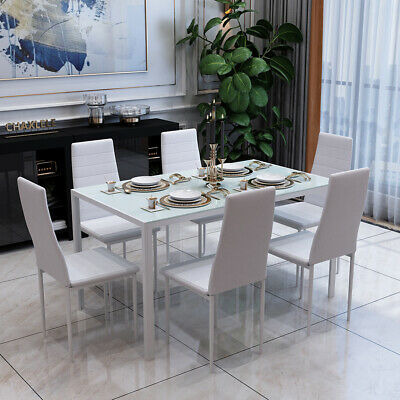 £199.90 • Buy Rectangle Dining Glass Table And 6 PU Chairs Set Kitchen Dinning Room White NEW
