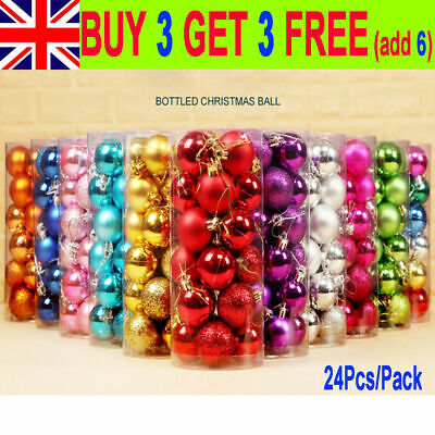 24Pcs/Pack Christmas Tree Balls Home Decorations Baubles Party Wedding Ornament • 4.89£