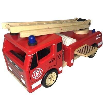 John Crane Pintoy Wooden Fire Engine Traditional Toy, Well Played With Condition • 21.95£