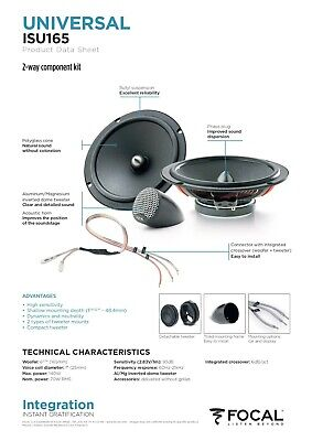 Focal ISU165 170MM 17CM 6.5  140 Watts 2 Way Car Stereo Front Component Speakers • 89.99£