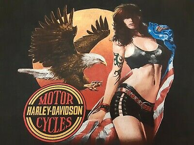 $ CDN13.05 • Buy VTG 90s Harley Davidson Eagle USA Flag Pin Up Girl Double Sided T Shirt Large L
