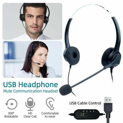 USB Headphones With Microphone Noise Cancelling Headset Mute For Skype PC Laptop • 10.79£